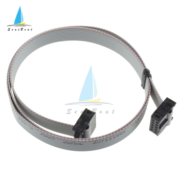 2PCS 2.54mm 10 PIN 70CM JTAG ISP Download Cable Gray Flat Ribbon Data Cable FOR DC3 IDC BOX HEADER image