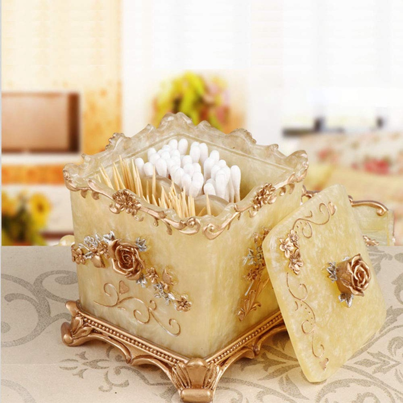 Bathroom Vanity Storage Box Organizer Dispenser Holder for Toothpick, Cotton Balls, Cotton Swabs, Makeup Sponges, Bath Salts, Ha