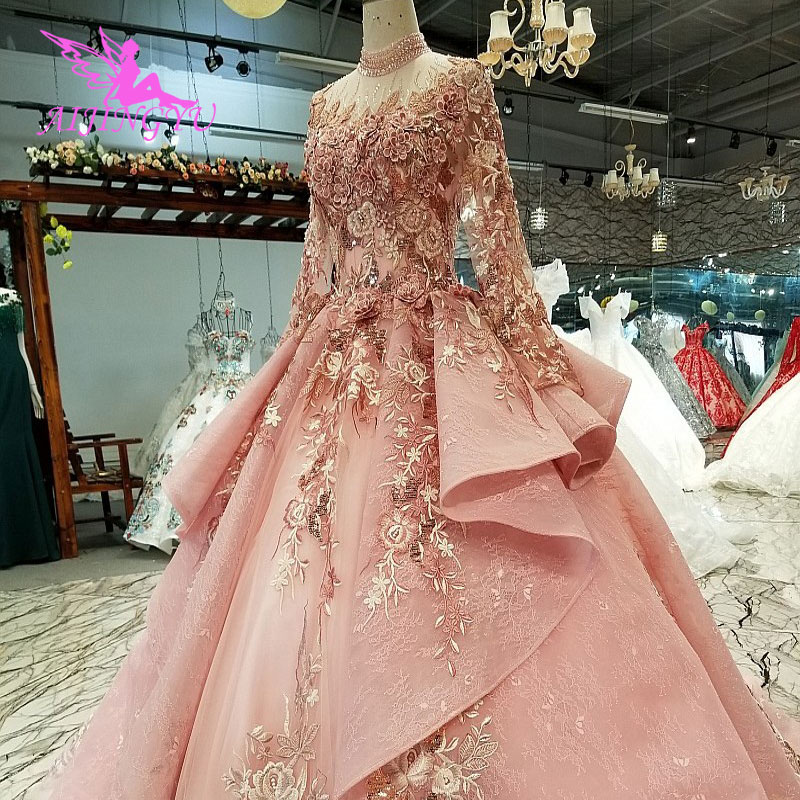 AIJINGYU Sexy Open Back Long Sleeves New Wedding Dresses Pleated Country Alterations Arab Sheer Gown Wedding Dress Japan