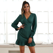 JYSS New green bodycon dress girl long sleeve v neck collar vestido ruffles mini party wearing autumn slim dresses 50113