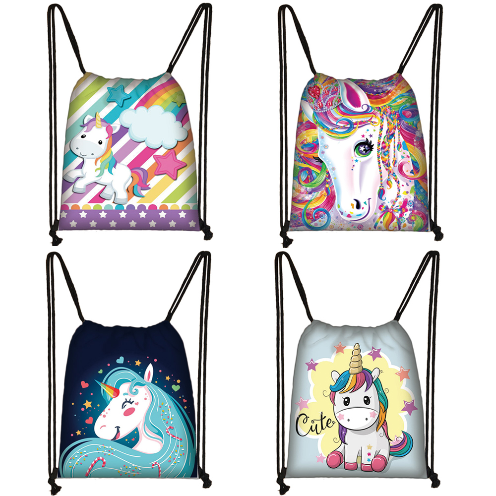 Cute Cartoon Unicorn Pony Print Drawstring Bag Boys Girls Storage Bags Kids Books Women Rucksack Party Bag Casual Backpack