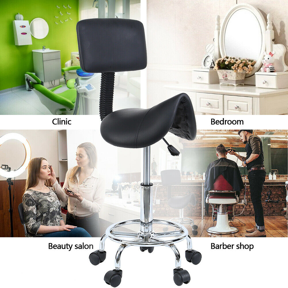 Saddle Salon Stool For Beauty Barber Swivel Chair Hairdressing Massage Spa
