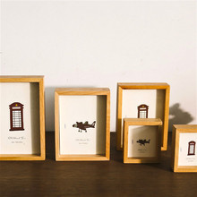 Double Sided Photo Frames DIY Children's Painting Display Wooden Picture Frame Wedding Couple Memories Desktop Decoration Albums modern wooden picture frame wooden wall decoration painting display box diy handmade photo frame home decor