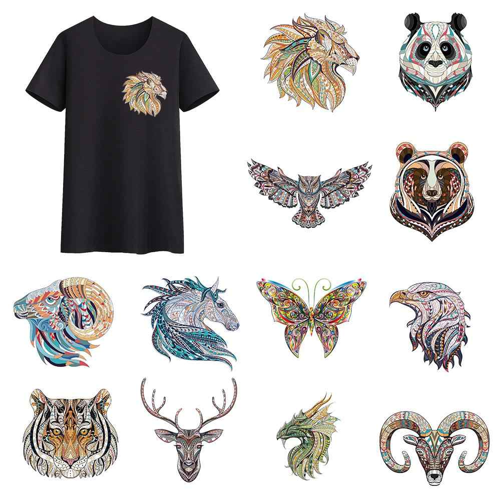 Style ethnique animaux tigre Dragon Lion patchs transfert de chaleur fer sur Patch a-level lavable vêtements autocollants impression facile par maison
