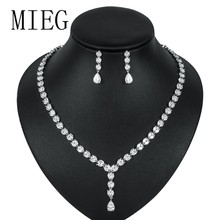 MIEG Rose Gold / Silver Colors Plated Long Drop Cubic Zirconia CZ Crystal Wedding Jewelry Sets for Bride or Bridesmaid(China)