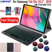 Capa com retroiluminação para teclado samsung, galaxy tab s5e 10.5 capa t720 t725 SM T720 bluetooth, removível, teclado, de couro