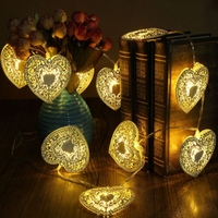1.2 Meters 10 White Wrought Iron Metal Hollow Heart Light New Night Led Hanging Fairy String Hollowed Heart Lights Xmas Wedding