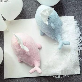 Caja de pañuelos con diseño de ballena y Delfín de dibujos animados, caja para pañuelos de papel azul rosa a la moda, decoración creativa para coche, funda para toalla, servilletero