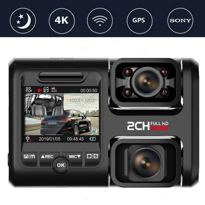 Capteur Sony DVR 4K 2160P voiture | Double objectif, enregistreur GPS WIFI 2 caméras Dash, caméra enregistreur vidéo, Vision nocturne, caméscope 170 degrés D30H