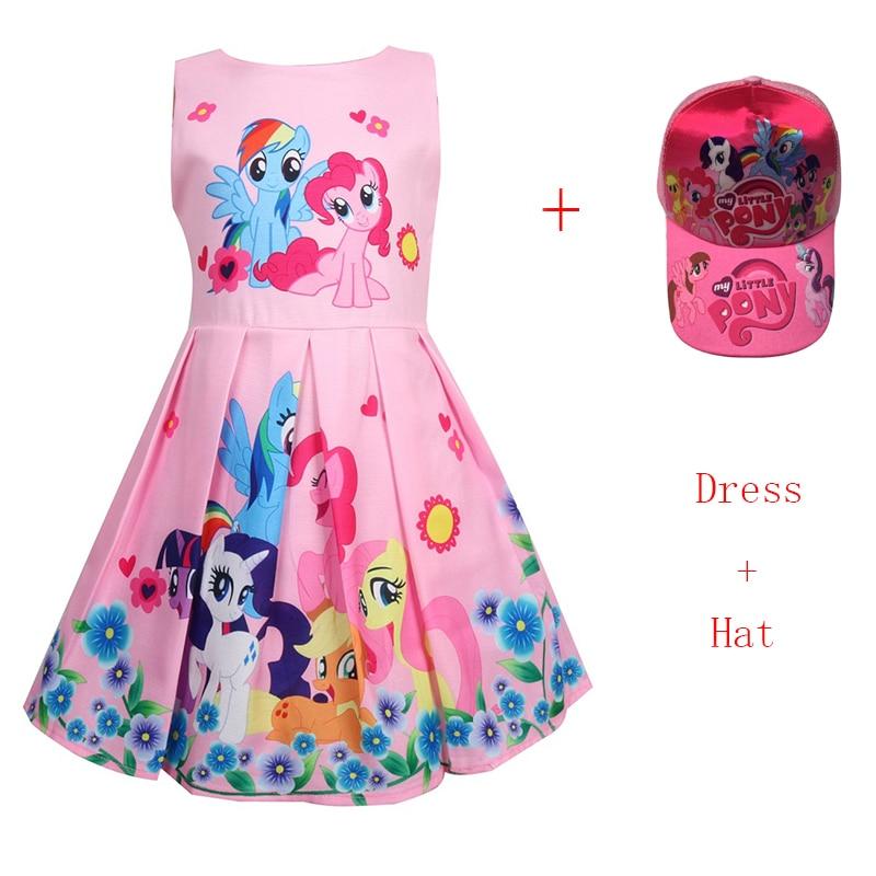 Meu pequeno vestidos de bebê bonito vestido elegante crianças trajes de festa pônei roupas para crianças princesa vestido da criança para meninas com chapéu
