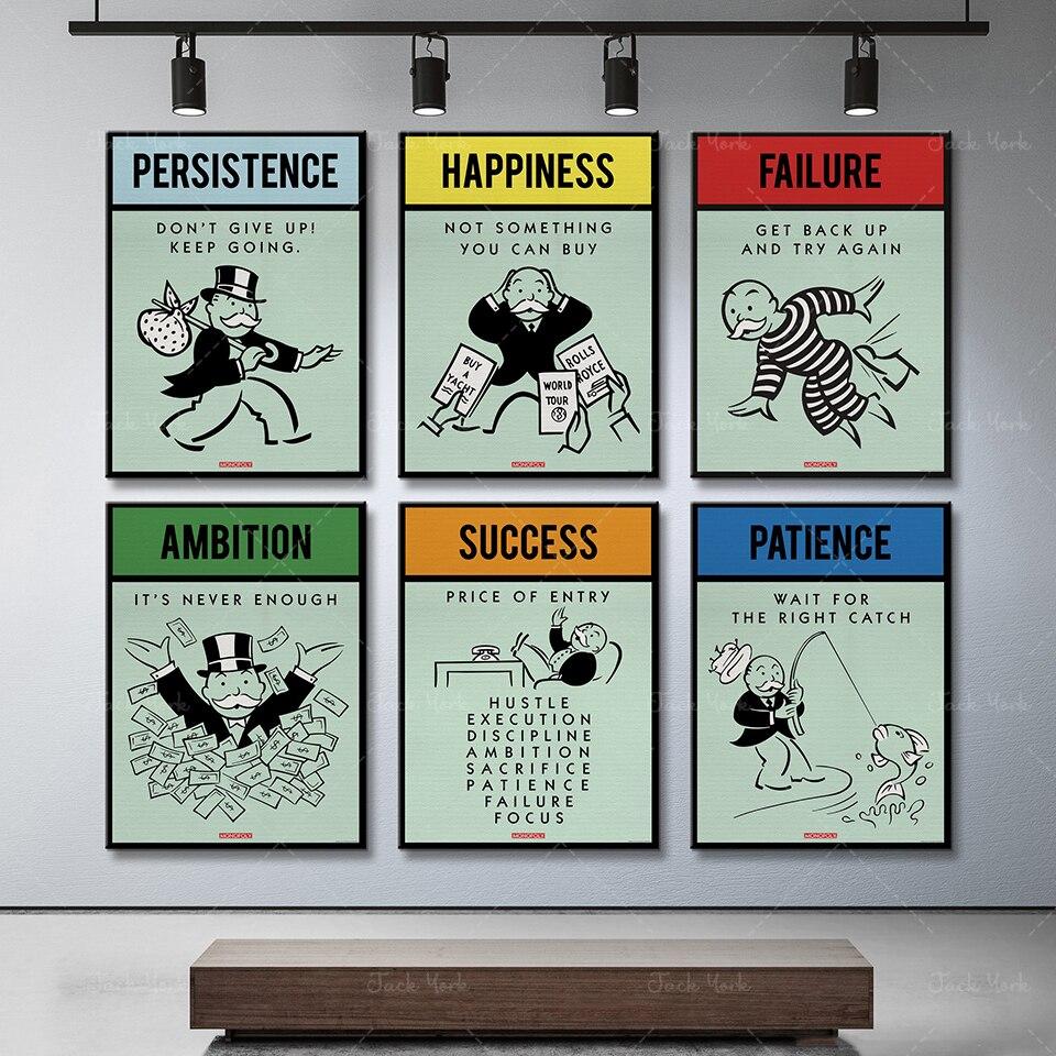 Alec монополии вдохновение успех честолюбие терпение Холст плакат настенная живопись HD картина Печать офис декор комнаты