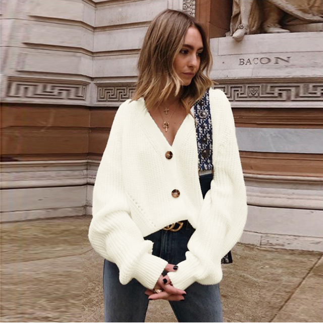 2020 New Women Knitted Sweater Lantern Sleeve V Neck Cardigan Autumn Casual Loose Long Sleeve Single Row Button Female Knitwear