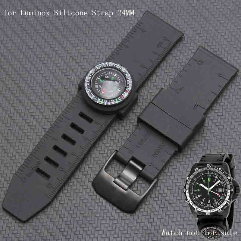 Shengmeirui For Luminox Military Silicone Watch Band 22MM 23MM 24MM Black White Men's Sports Bracket