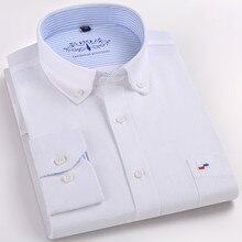 חדשה באיכות גבוהה חולצה גברים ארוך שרוול כותנה מזדמן לבן כחול Slim Fit Camisa עסקים קלאסי Mens שמלת חולצות Mens בגדים