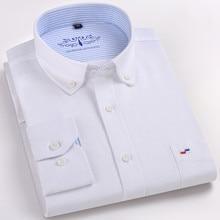 Camisa nueva de alta calidad para hombre, Camisa de manga larga de algodón, informal, ajustada, color blanco y azul, ropa de negocios clásica para hombre
