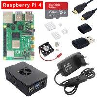 Original Raspberry Pi 4 Model B kit 2G/4G RAM 4 Core CPU + Case + Heatsink + Fan + Micro HDMI + Power Plug for Raspberry Pi 4 4B
