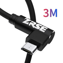3a micro usb cord 90 degree microusb cable usb wire charging android mobile phone cables(China)