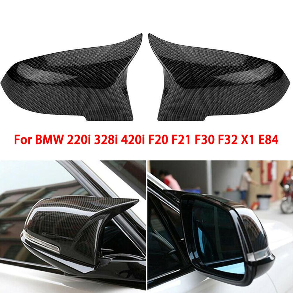 Pair ABS Carbon Fiber Look Side Rearview Wing Mirror Cover Caps For BMW F20 F21 F22 F30 F32 F36 X1 M3 2014 2015 2016 2017 2018 image