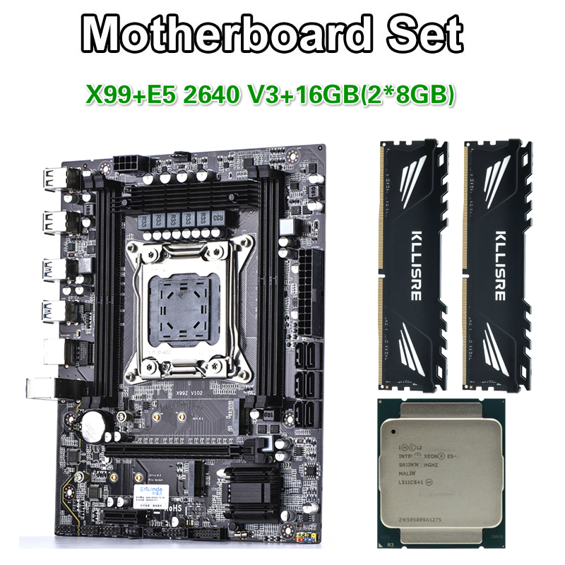 Kllisre X99 motherboard set Xeon E5 2640 V3 LGA2011-3 CPU 2pcs X 8GB =16GB 2400MHz DDR4 memory(China)