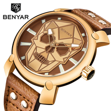 Relogio Masculino BENYAR Skull Watch Mens Watches Top Brand Luxury Fashion Quartz Watch Men Wristwatch Clock Man Montre Homme montre homme fashion women dress watches lady elegent quartz watch soft silicone strap clock female wristwatch relogio masculin