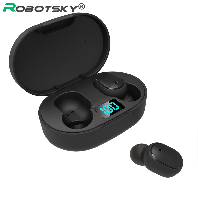 E6S Smart Bluetooth Earphones LED Digital Display Wireless Earbuds IP65 Waterproof Sports Bluetooth Headset for Iphone 11 Huawei