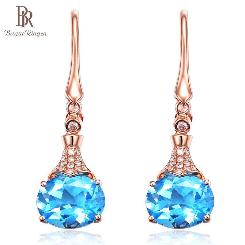 Bague Ringen New Style Hot Selling Silver 925 Jewelry Earrings For Women Water Drop Shaped Noble Aquamarine Eardrop Temperament