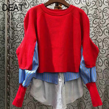 Winter Fashion Sweater Women DEAT Over-Size New Autumn Irregular-Design Full-Sleeve Casual