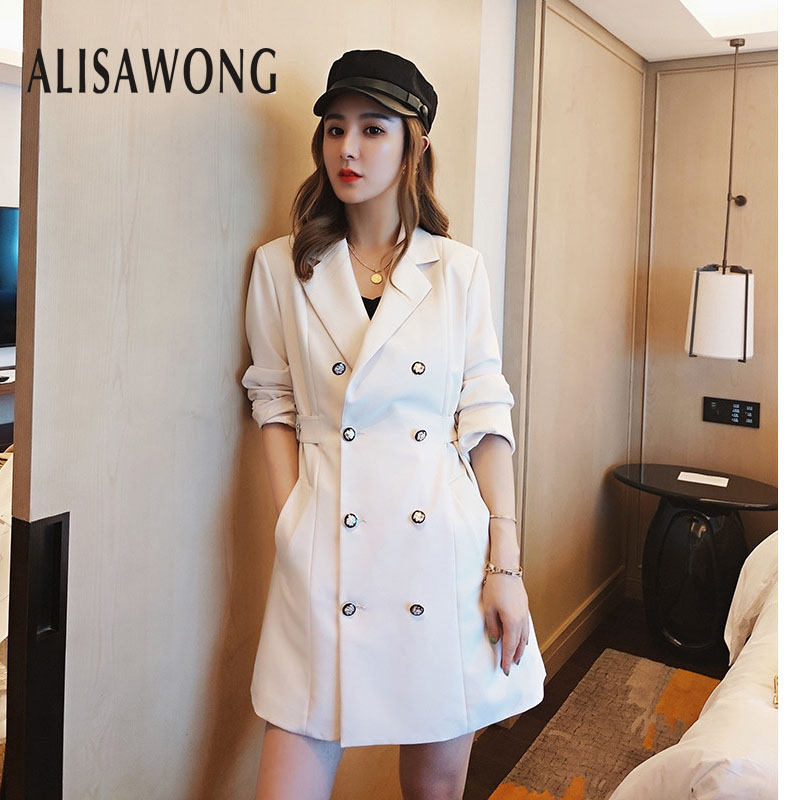 New Autumn Bohemian Bandage Womens Windbreaker 2019 Korean Fashion Double-breasted Female Medium Long Slim   Trench   Outerwear