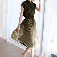 Sommer 2021 Japanischen Stil Neue Temperament Plissee Gradienten Dünne Spitze Engen frauen Kleid V-ausschnitt Ärmeln Koreanische Mode