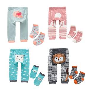 2pcs/set Cartoon Baby Boys Girls Leggings Autumn Winter Warmer Cotton PP Pants Trousers+Socks Infant Tollder Clothing Clothes