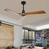 52 Inch Solid Wood Ceiling Fan Without Light With Remote Control Creative Living Room Dining Room Loft Without Lamp Fan DC