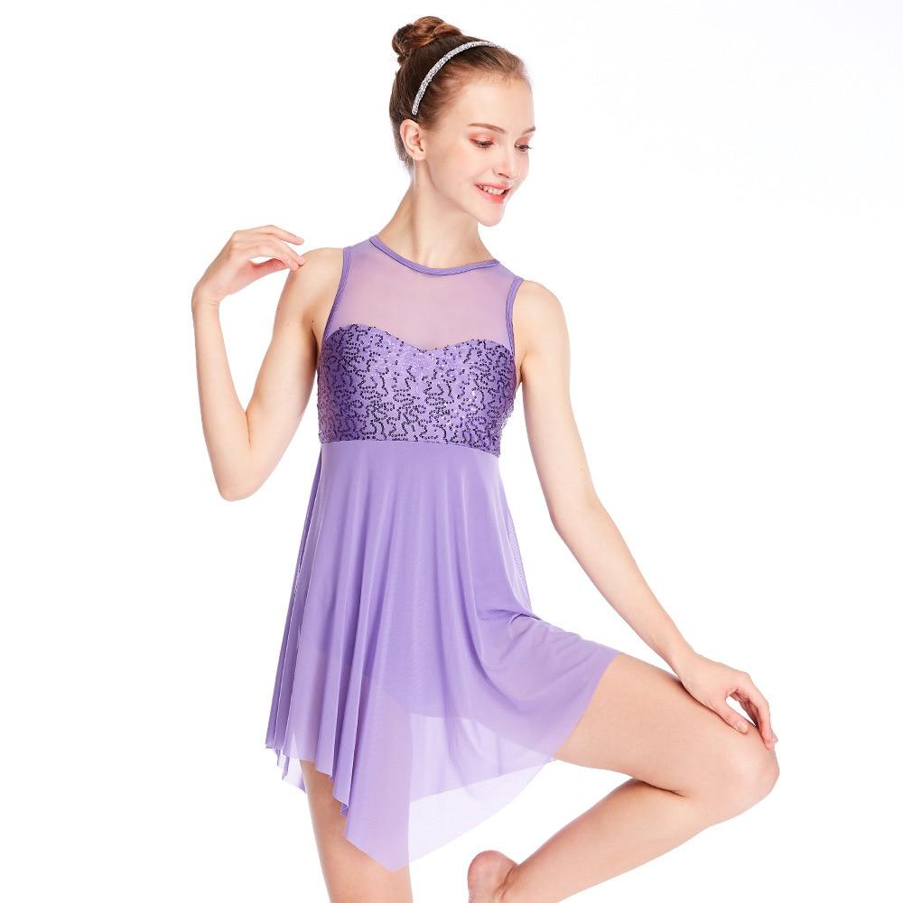 Women dress ballerina ballet dress lyrical dance dress dance costumes sequin dance mesh girls performance dress stage dancewear