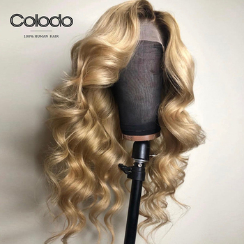 COLODO Pre Plucked #4 Roots Blonde Highlights Color Body Wave Wig Brazilian Remy Hair Full Lace Human Hair Wigs for Black Women