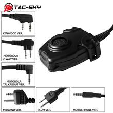 TAC SKY tactical headset u94  PELTOR PTT button walkie talkie headset plug adapter Airsoft radio military shooting earmuffs use
