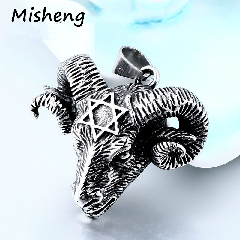 Misheng Men 39 s Fashion Stainless Steel Viking Goat Head Hip Hop Pendant Vintage Hexagram Star Religious Jewelry 60cm Chain in Pendants from Jewelry amp Accessories
