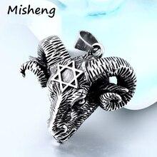 Misheng Mens Fashion Stainless Steel Viking Goat Head Hip Hop Pendant Vintage Hexagram Star Religious Jewelry 60cm Chain