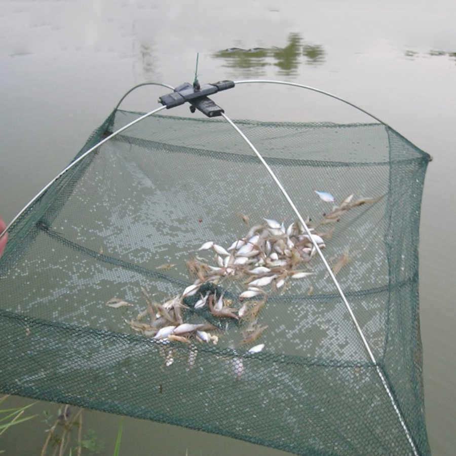 Trap Small Fish Shrimp Minnow Crab 60cm Cage Folded Baits Cast Mesh Fishing Net