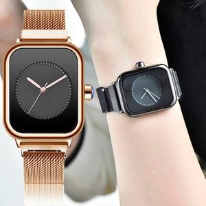 Image 1 - Creative New Women Watches Quartz REBIRTH Square Magnetic Minimalist Ladies Wristwatch Rose Gold Luxury Band Reloj Mujer 2019