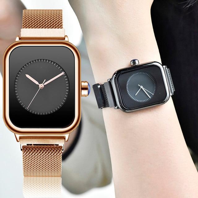 Nuevos relojes creativos de cuarzo para Mujer, Reloj de pulsera cuadrado magnético minimalista para Mujer, Reloj de pulsera de lujo de oro rosa para Mujer 2019