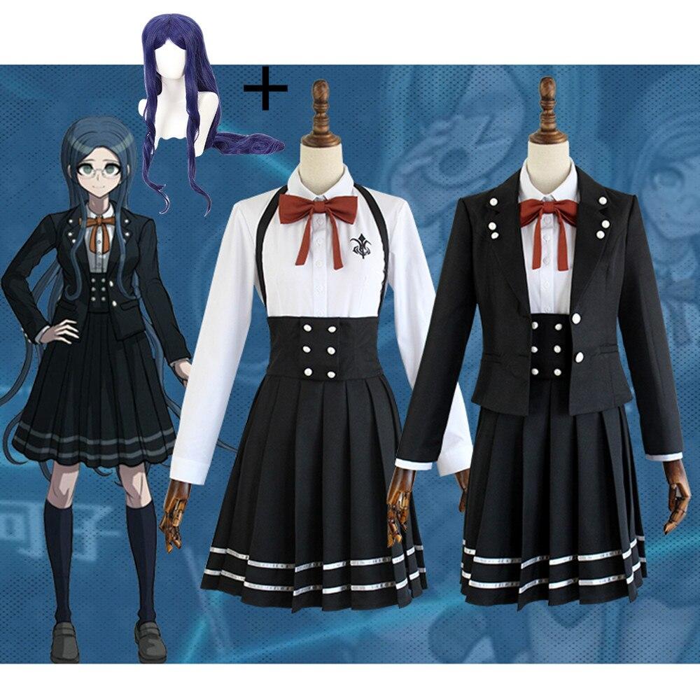 Anime danganronpa v3 shirogane tsumugi edição original jk uniforme cosplay traje feminino festa de halloween ternos com peruca cabelo| |   -