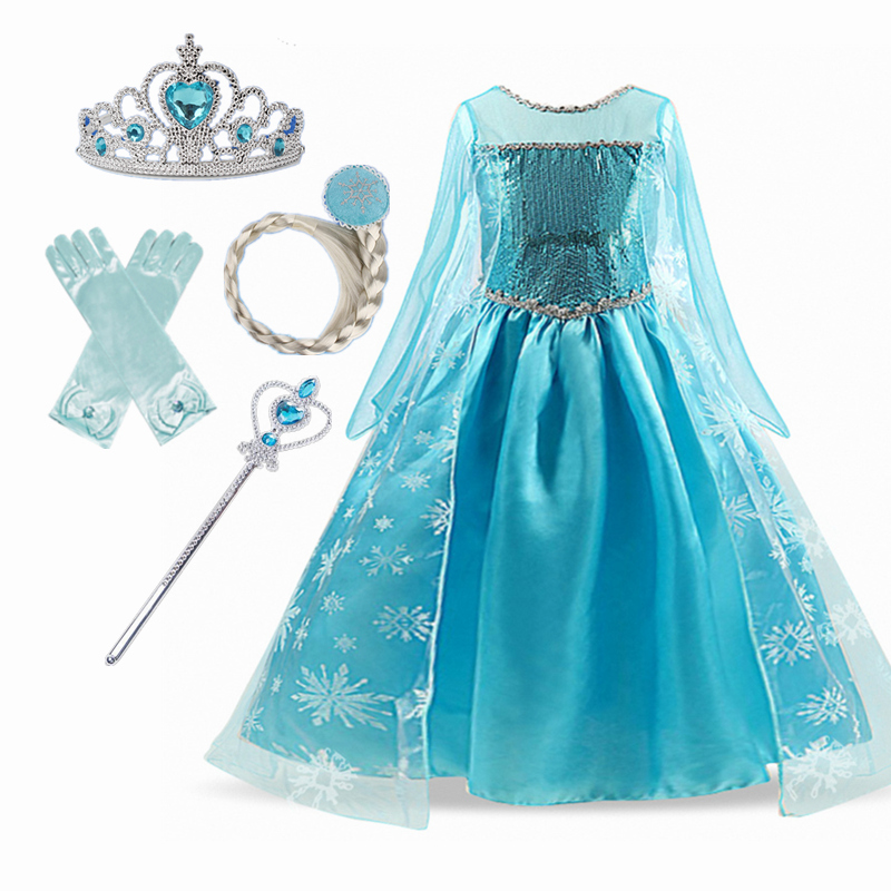 Golden Princess Dress Cosplay Girls Dress Crown Magic Stick Party Kids Dress For Girls Clothing Birthday Ball Gown 6