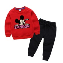 Mickey Spring Autumn New Children Boys Clothes Minnie Children Boys Clothes Mickey Set Cartoon Baby Girl Long-sleeved Two-piece