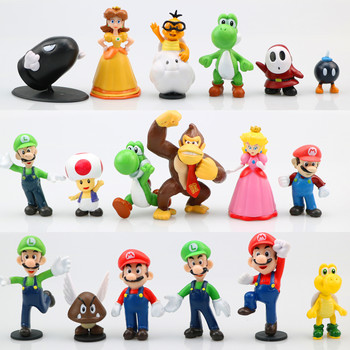 4/12/18pcs Super Mario Bros Anime Action Figure Model Toys PVC Bowser Koopa Yoshi Mario Maker Luigi  Mario Figurines Set Kid Toy mario lanza mario lanza best of