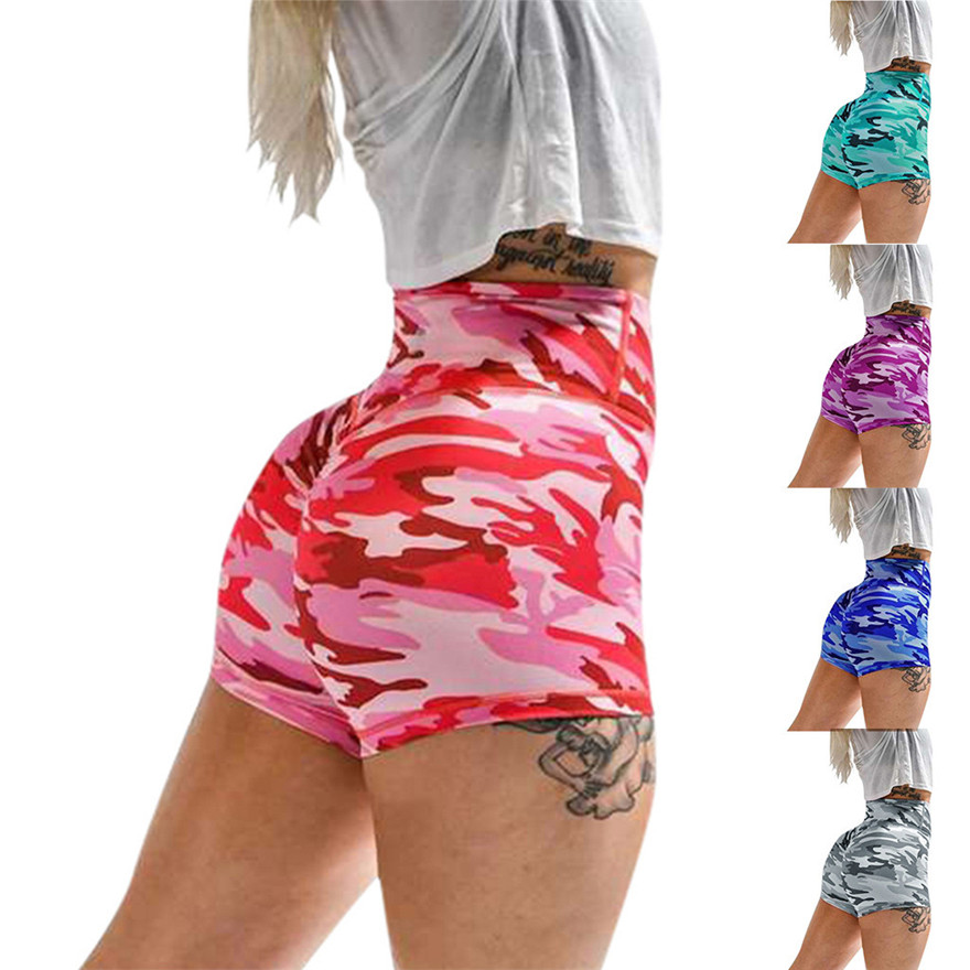 Women's camouflage sports tight yoga shorts non-slip bicycle shorts compression fitness leggings yoga shorts Capris