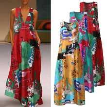 Moda baskılı maksi elbise kadın yaz Sundress 2021 ZANZEA rahat kolsuz çiçek Vestidos kadın V yaka elbise artı boyutu