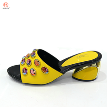 New African Women Fashion Slippers Decorated with Rhinestone Round Heels Sandals To Street Italian Lady Yellow Shoes To Party(China)