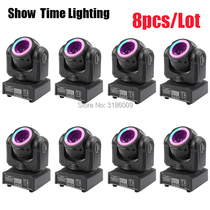 8Pcs/Lot Mini Dj Led beam moving head with led circle 60W spot wash RGBW 4 In 1 stage effect DMX 512 Control KTV DJ Party lite|Stage Lighting Effect| |  - title=