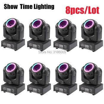 8Pcs/Lot Mini Dj Led beam moving head with led circle 60W spot wash RGBW 4 In 1 stage effect DMX 512 Control KTV DJ Party lite
