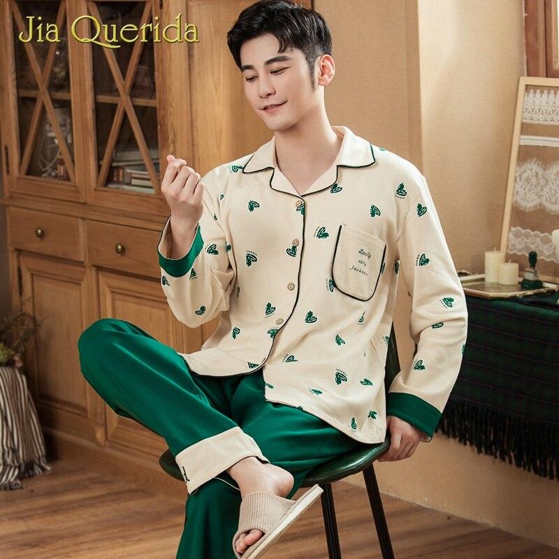 New Pajamas Sleeping Suits For Mens Long Pijama Set Lapel Cotton Printing Design Elastic Waist Button Pocket Pjs Men Nightwear