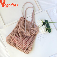 Yogodlns New Mesh Nets Turtle Bag String Shopping Bag women female thread Weave hollow out summer bag large beach shoulder bag(China)